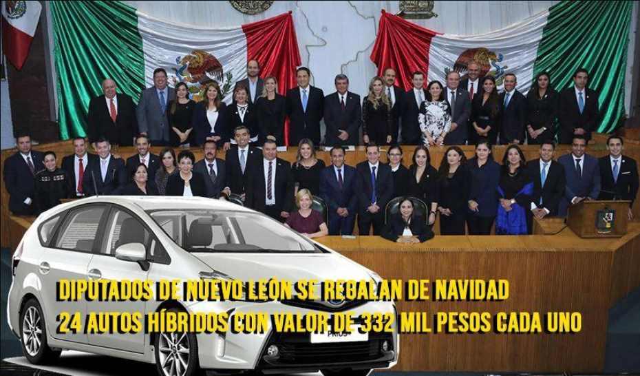 Diputados de Nuevo León se 'regalan' autos híbridos; gastan 10 millones de pesos