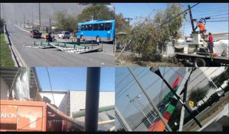 Fuertes vientos dejan daños y lesionados en Monterrey