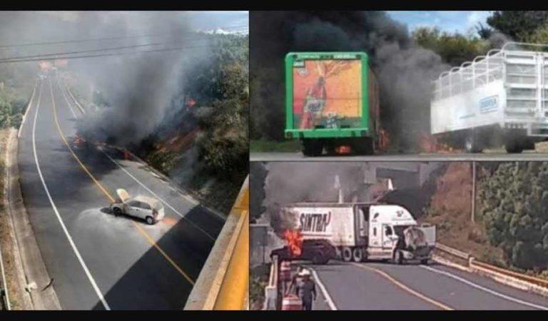 Incendian 5 vehículos por bloqueos en Uruapan