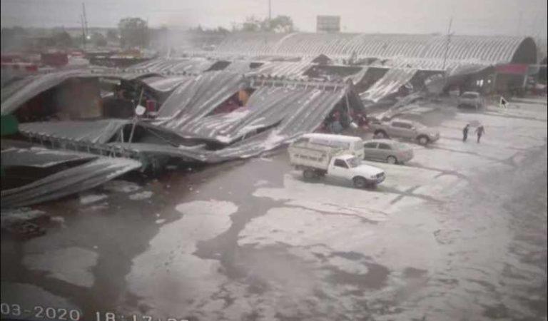 Así fue el momento del desplome de techo de la Central de Abasto (VIDEO)