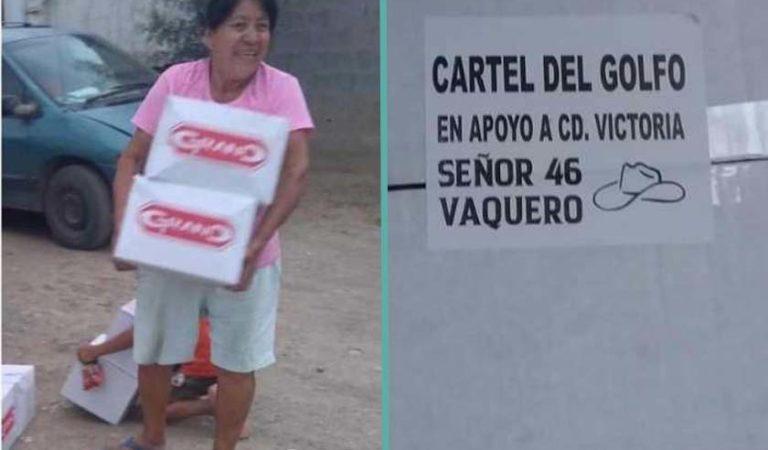 Cártel del Golfo reparte despensas en Tamaulipas por coronavirus
