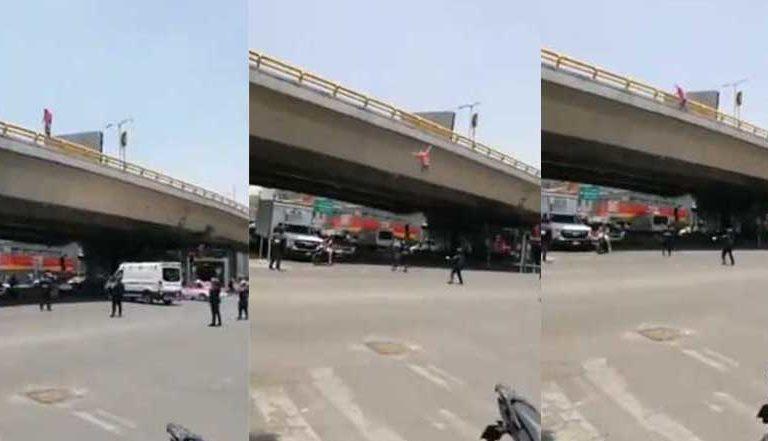 Sujeto se arroja de puente vehicular y sobrevive para contarlo (video)