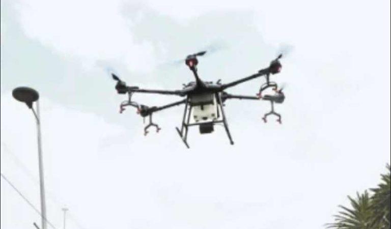 Inician sanitización con drones en Polanco para evitar la propagación del Covid-19