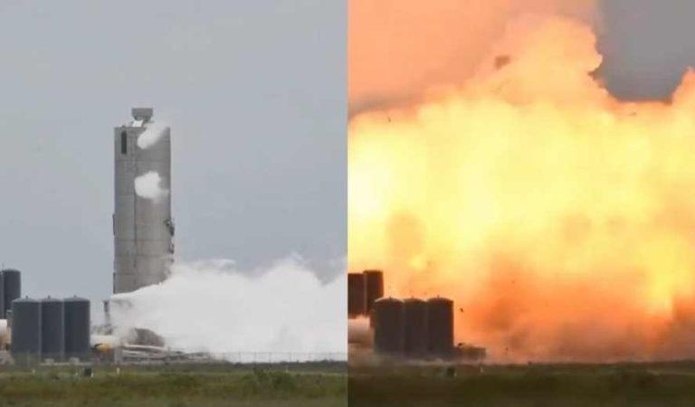 Nave SN4 de SpaceX estalla y arde en llamas durante prueba en Boca Chica, Texas