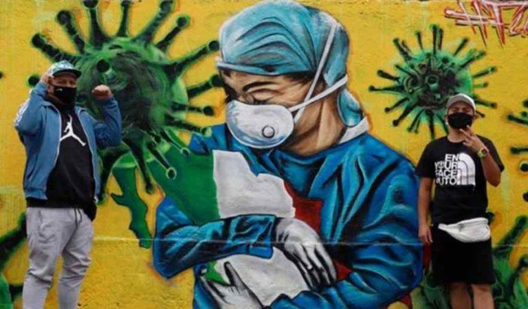Grafiteros echan volar su imaginación y rinden homenaje a personal de salud (fotos)
