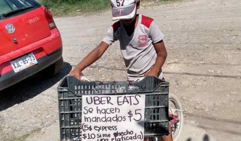 """UBER EATS"" se viraliza por entregar mandados a 5 pesos en su bicicleta"