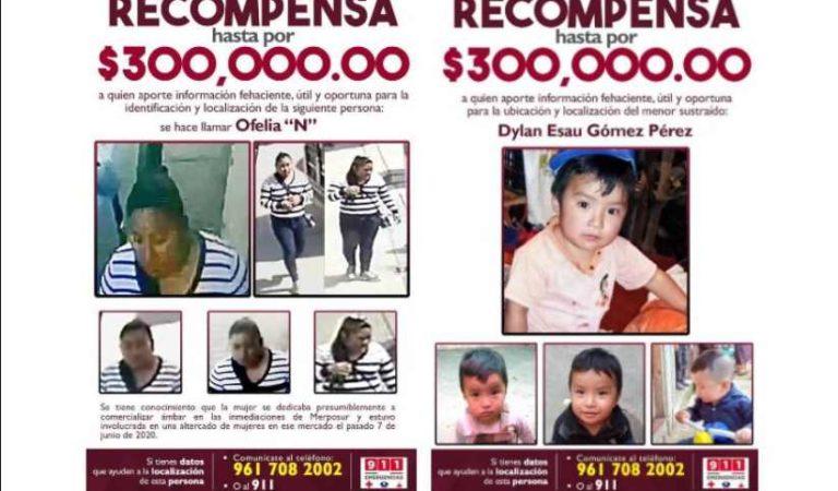 Ofrecen recompensa de 300 mil pesos para localizar a Dylan y a mujer que participó en desaparición