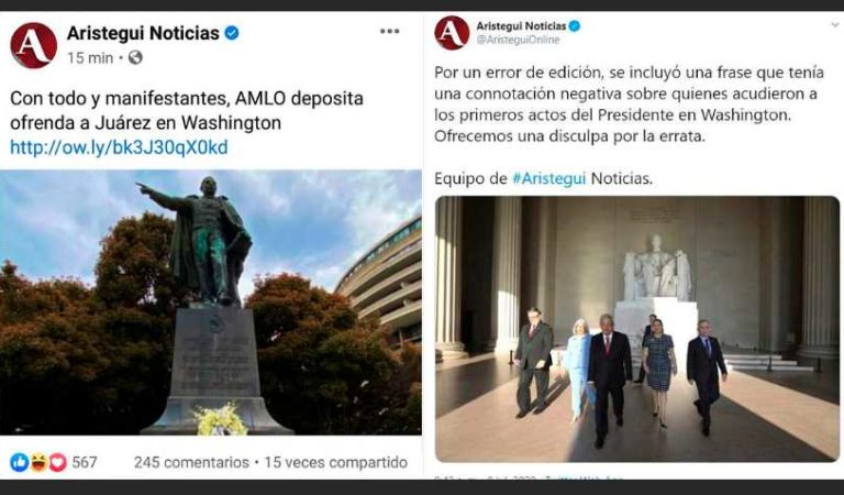 Carmen Aristegui ofrece disculpas por difundir Fakenews de AMLO en Washington
