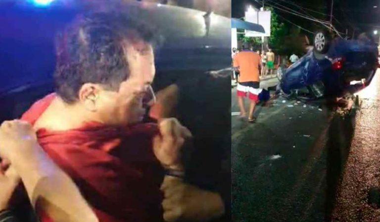 Ex gobernador de Tabasco a punto de ser linchado por borracho y chocar contra mototaxi