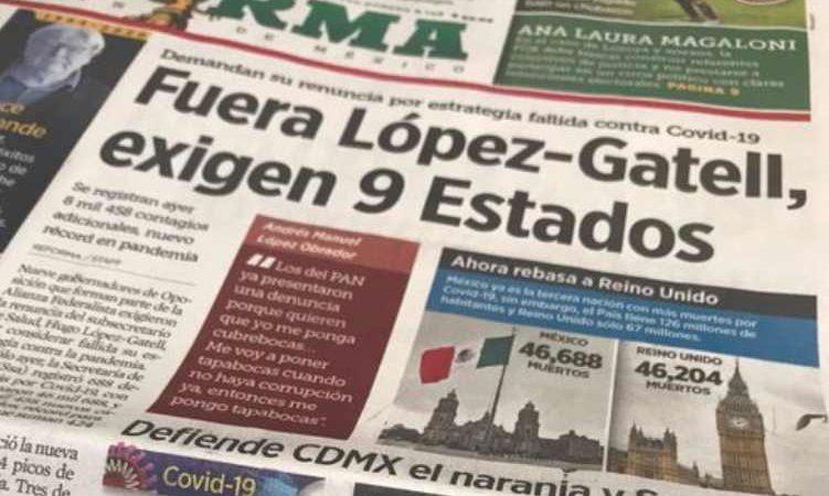Reforma difunde que 9 'estados' quieren fuera a López-Gatell, pero sólo son sus gobernadores