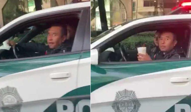 Policía se estaciona en sitio prohibido para desayunar
