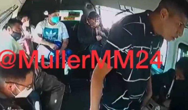 Asaltante de combi amenaza a pasajera con manosearla en Ecatepec | VIDEO