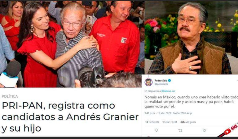 Pedrito Sola sorprendido porque el PRI-PAN registraron como candidato a Andrés Granier