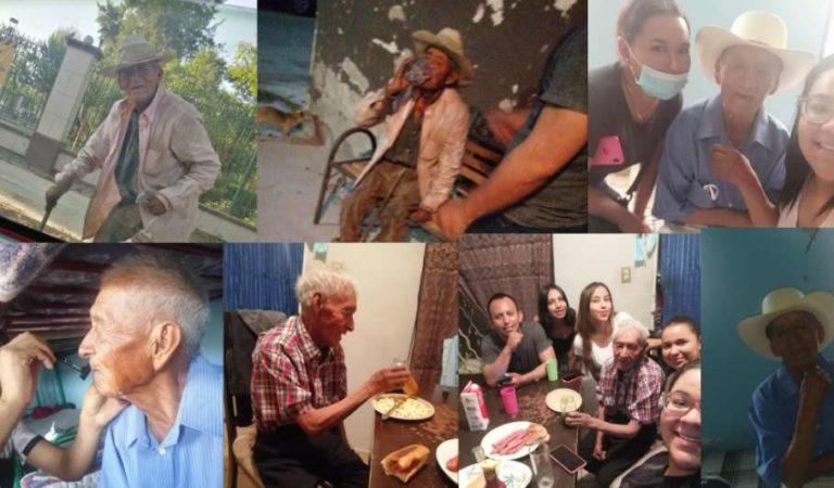 Familia adopta a abuelito de 108 años; vivía bajo un árbol